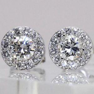 Jewelry - $4200 1.50 Ct Natural Diamond 14K Gold Halo Studs